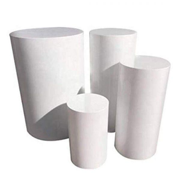 4 White Plinths