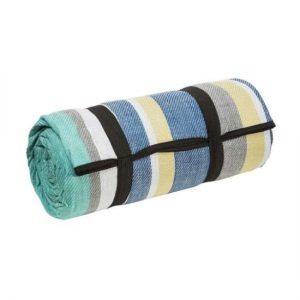 Blue, Grey, White, Black, and Yellow Picnic Rug