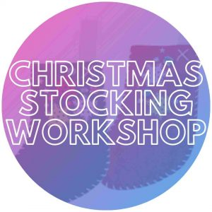 Blank Christmas stockings to be decorated at an event