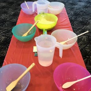 lots of bowls on a table at a kids science party in melbourne