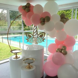 Unicorn Balloon Garland with Cake Stands and Plinths