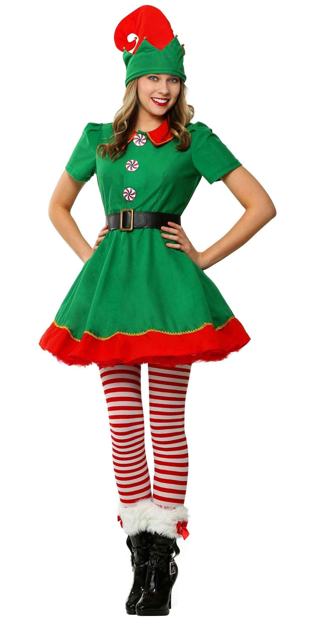 Woman in Christmas Elf Party Costume