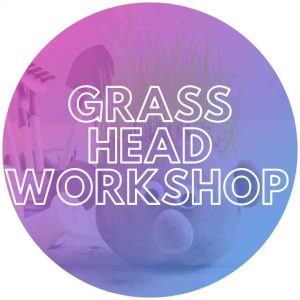 Grass heads being made for kids party