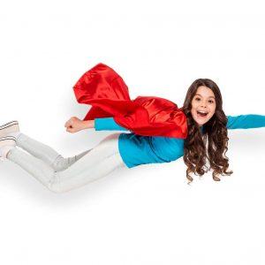 Girl Flying Dressed as Superhero