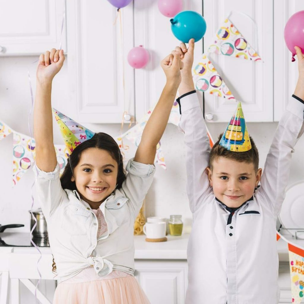 Kids Cheering at Birthday Party