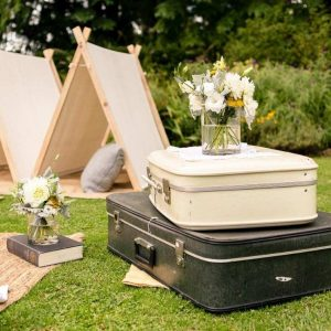 Vintage Suitcases with Teepees and Flowers