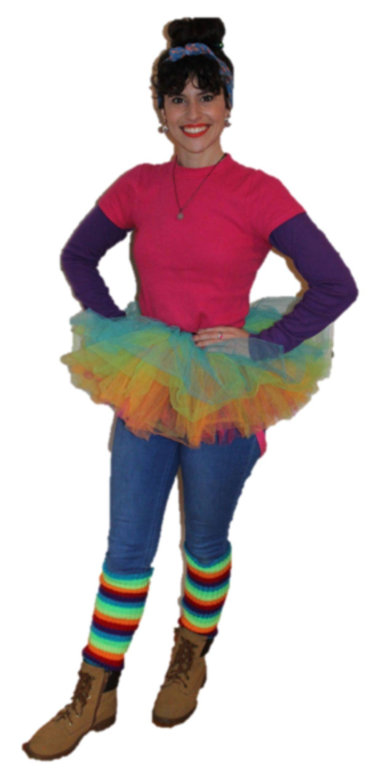 Woman in Bright and Colourful Party Costume