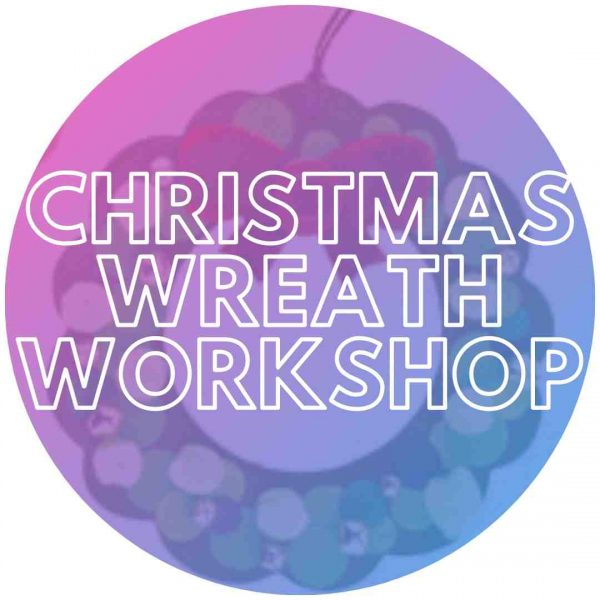Christmas wreath to be decorated at an event