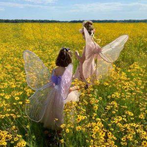Kids in Fairy Costumes in Field