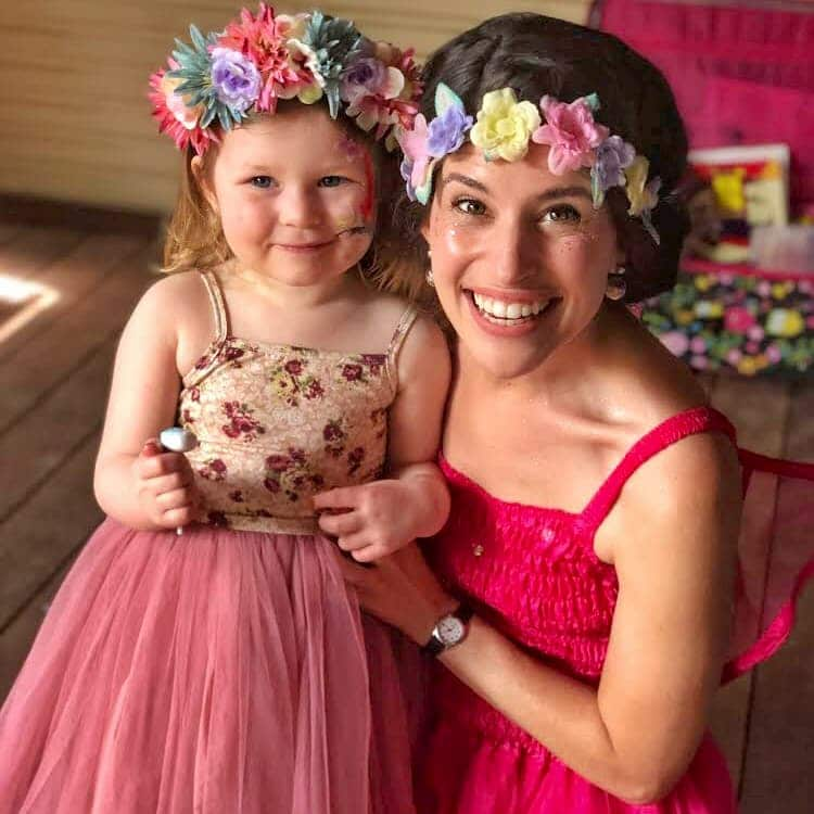 fairy party entertainer with birthday child