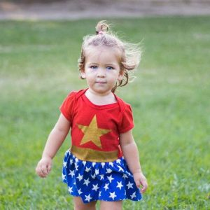 Little Girl in Wonder Woman Costume for Kids Party Theme