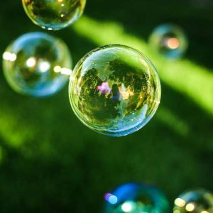 Bubbles with Grass Background for Low-Waste Kids Party
