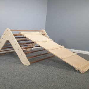 Wooden Pikler Triangle with Ramp and Slide