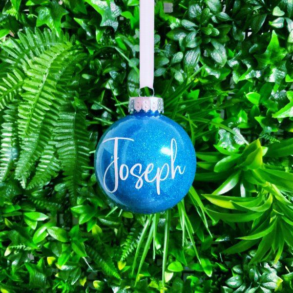"Glitter Bauble Saying ""Joseph"""
