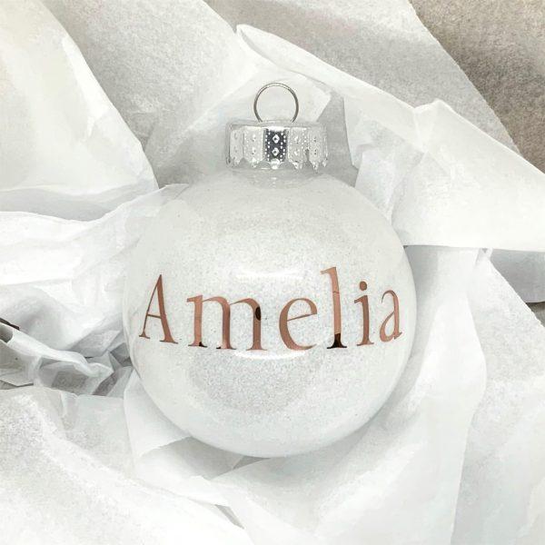 """Glitter Bauble Saying """"Amelia"""""""