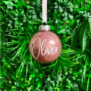 """Glitter Bauble Saying """"Oliver"""""""