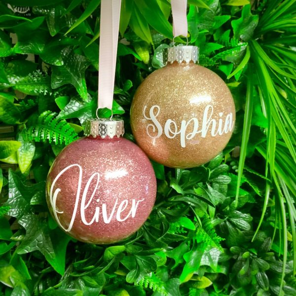"Glitter Bauble Saying ""Oliver"" and ""Sophia"""