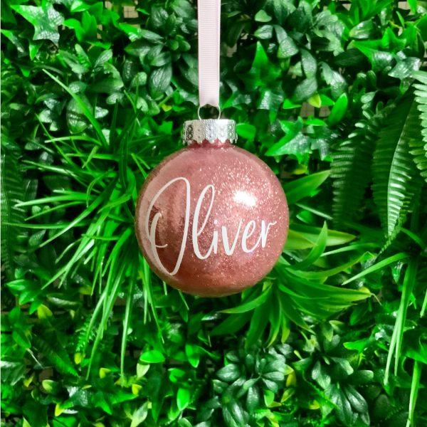 "Glitter Bauble Saying ""Oliver"""