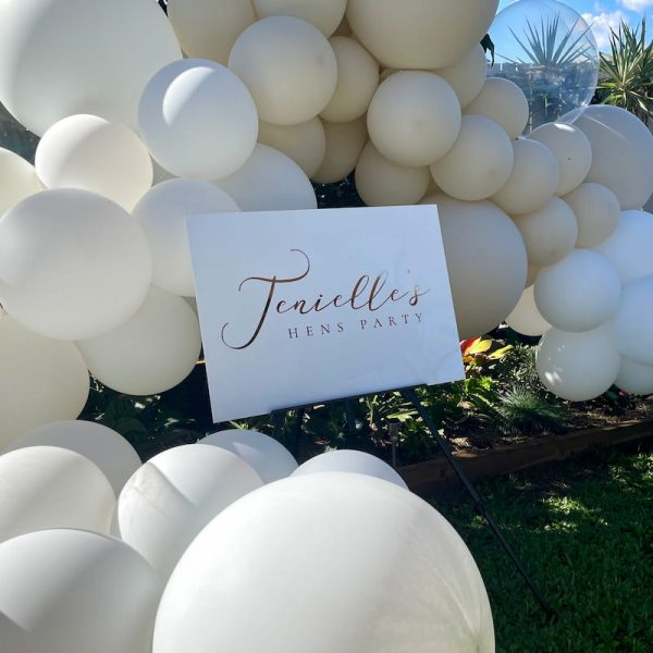 Personalised Acrylic Sign with Backdrop and Organic Balloon Garland