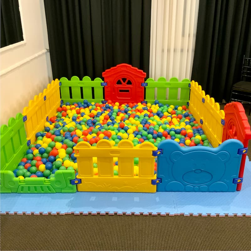 Ball Pit with Multicoloured Fencing for Kids Party Hire