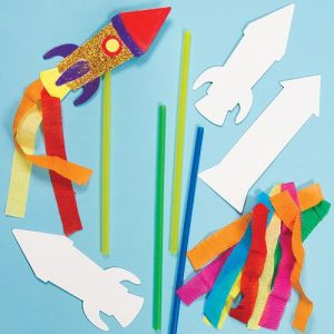 Rocket Magic Wand that has been Decorated for Kids Parties