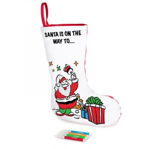 Decorated Christmas Stocking with Fabric Markers