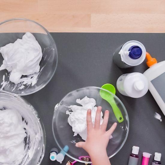Kid Making Fluffy Slime