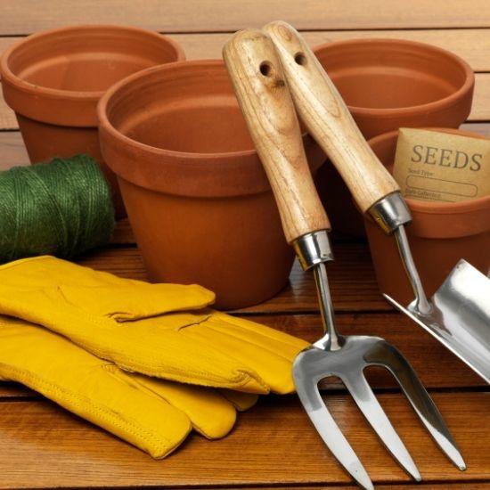 Ceramic Pots and Garden Tools