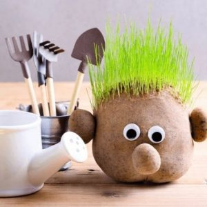Decorated Grass Head with Garden Tools